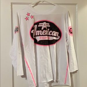 American Fighter 3/4 sleeve cropped T-shirt